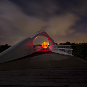 Wave Bridge Night Photography New Plymouth Orb